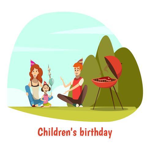 Composição de comemoração de aniversário de crianças vetor
