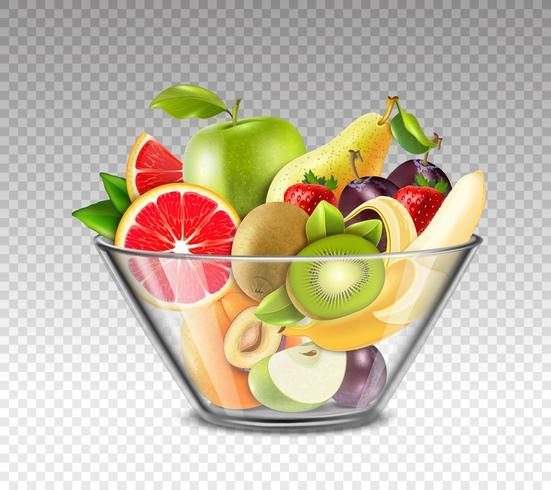 Frutas realistas na tigela de vidro vetor