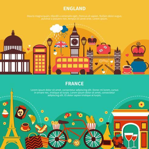 Inglaterra e França Banners horizontais vetor