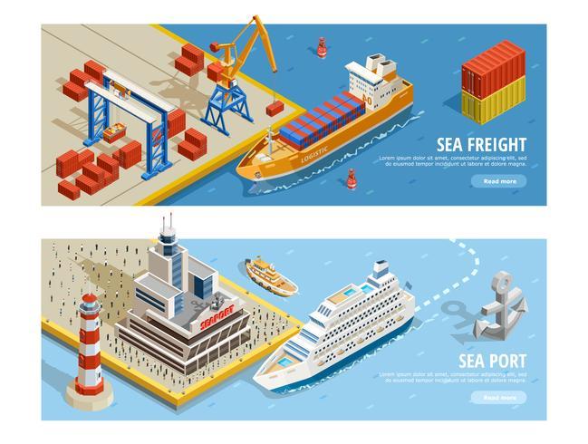 Banners horizontais isométricos de transporte marítimo vetor