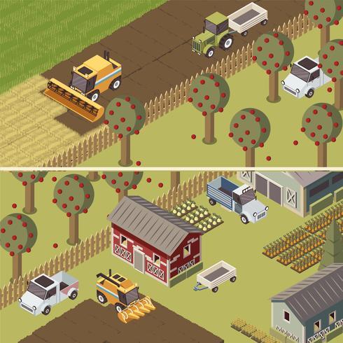 Banners horizontais isométricos de fazenda vetor