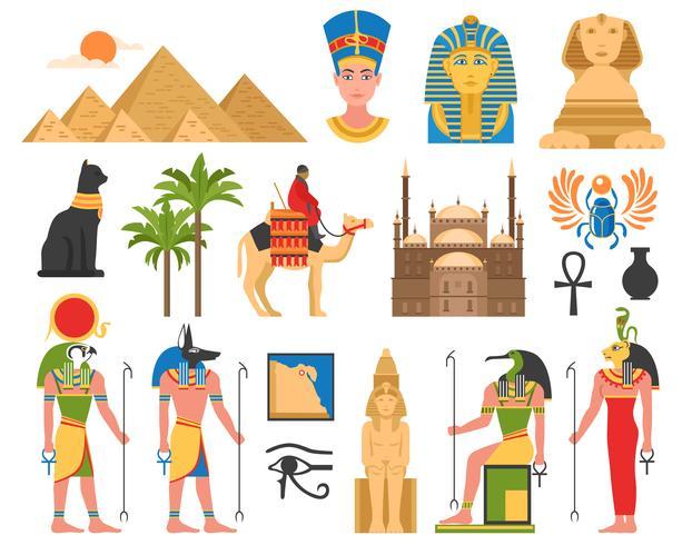 Coleção de arte egípcia plana vetor