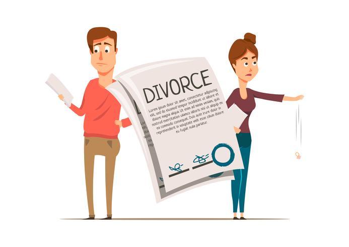Composição do casal do acordo do divórcio vetor