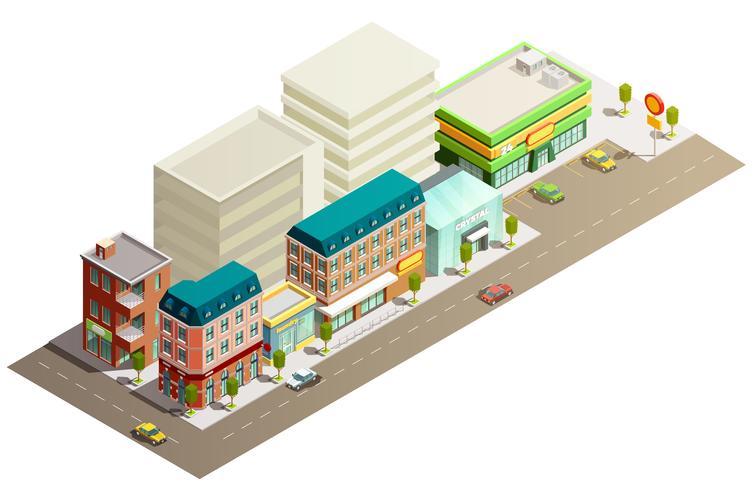 Conceito de edifícios de loja isométrica vetor
