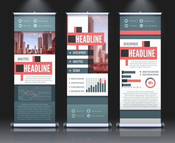 Conjunto de Banners Infográfico Rollup vetor