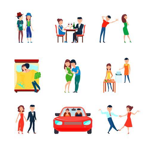 Conjunto de ícones de responsabilidades de marido esposa vetor