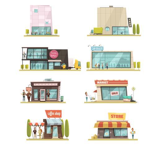Conjunto de construção de supermercado vetor