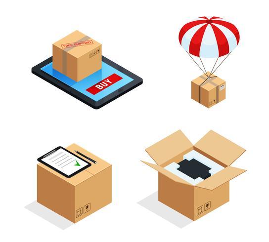 Conjunto de estágios de entrega de encomendas vetor