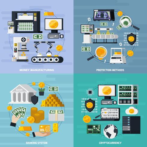 Conjunto de ícones de conceito de fabricação de dinheiro vetor