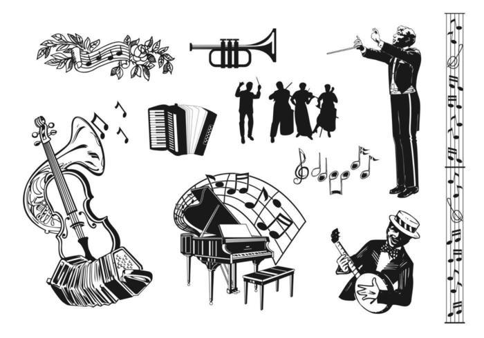 Pacote de vetores de música retro