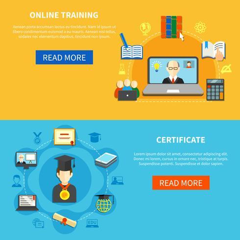 Conjunto de banner de treinamento on-line vetor