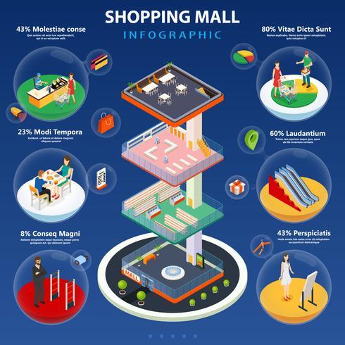 Layout de infográfico de shopping center vetor