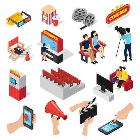 Conjunto de ícones de elementos de cinema vetor