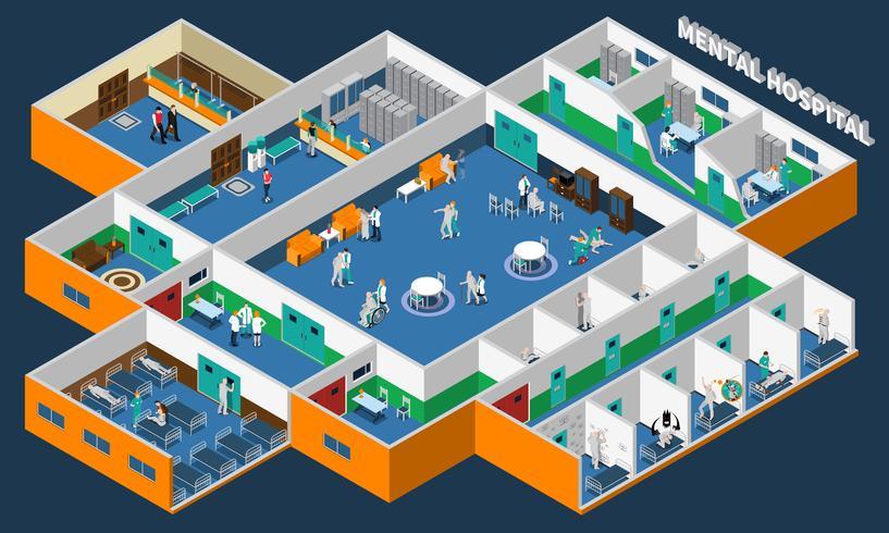 Interior Isométrico Hospital Psiquiátrico vetor