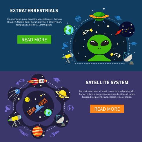 Conjunto de Banners de sistema de satélite vetor