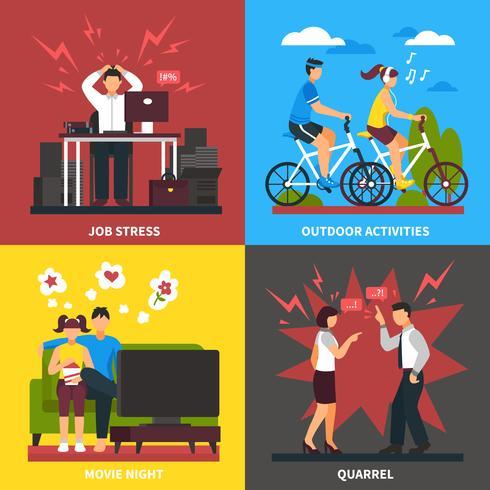 Conceito de Design plano de stress e relaxamento vetor
