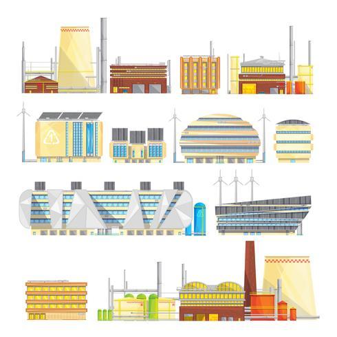 Coleção de ícones plana Industrial Eco Waste Solutions vetor