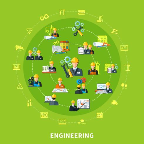 Composição de rodada de ícones de engenharia vetor