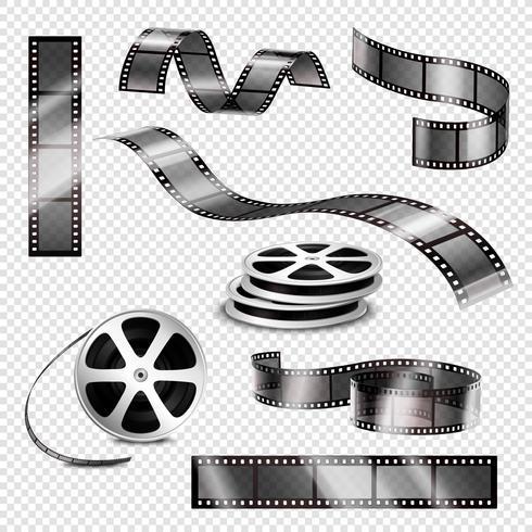 Tiras fotográficas realistas e rolos de filme vetor