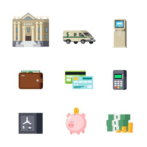 Conjunto de elementos ortogonais bancários vetor