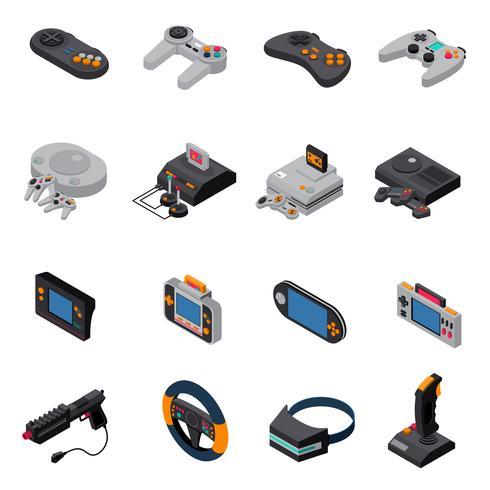 Coleção de ícones isométrica de gadgets do jogo vetor