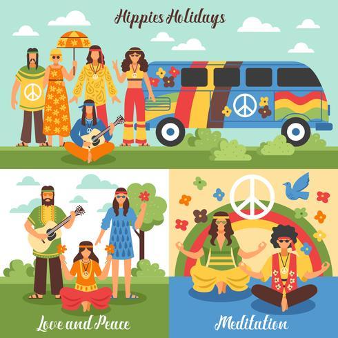 Conjunto de conceito de Design hippie vetor