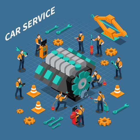 Composição isométrica de serviço de carro vetor