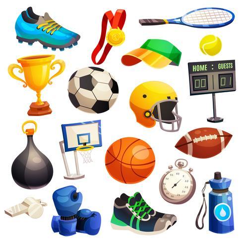 Conjunto de ícones decorativos de inventário de esporte vetor