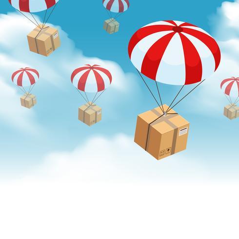 composição de entrega de encomendas de pára-quedas vetor