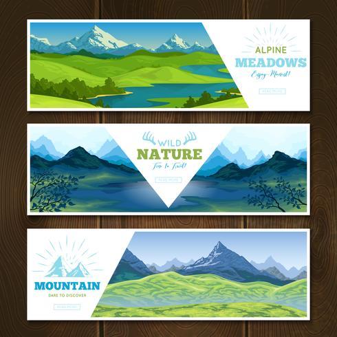 Conjunto de Banners Alpine Meadows vetor