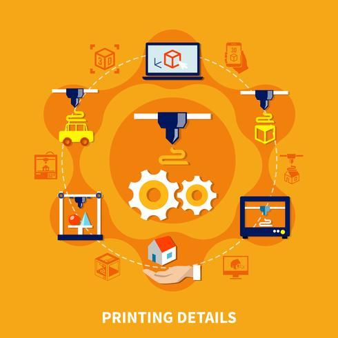 Detalhes para impressora 3D em fundo laranja vetor
