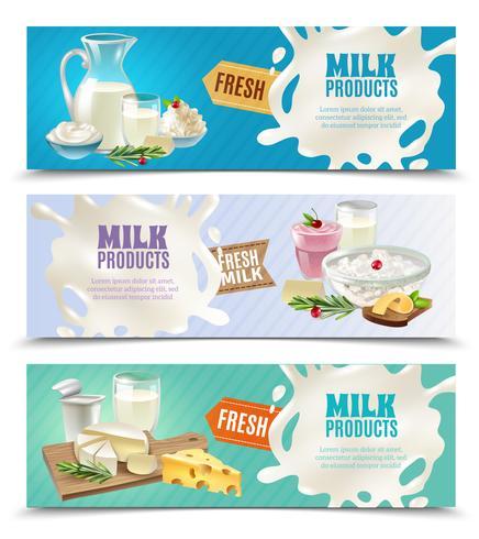 Conjunto de Banners horizontais de produtos lácteos vetor
