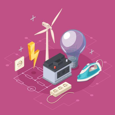 Conceito isométrico de eletricidade vetor