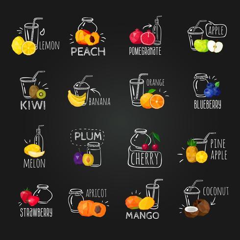 Conjunto de ícones coloridos frutas frescas Chalkboard vetor
