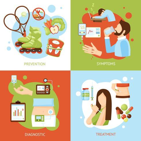 conceito de sintomas de diabetes 4 ícones planas vetor