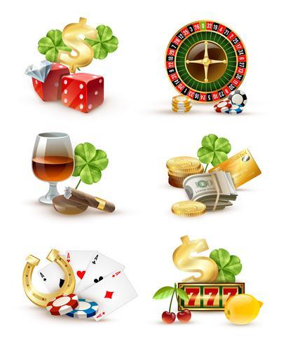 Casino Símbolos Atributos 6 Icons Set vetor