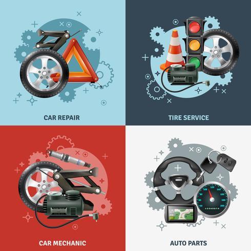 Conjunto de ícones de conceito de serviço de carro vetor