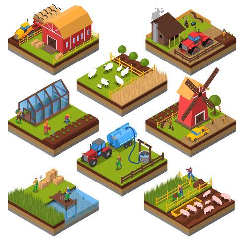 Conjunto isométrico de composições agrícolas vetor