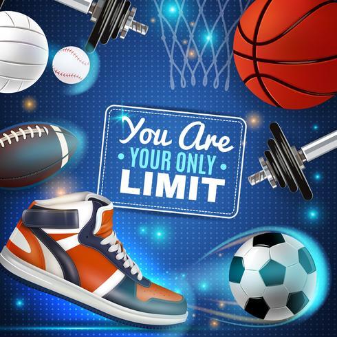 Cartaz colorido com inventário de esporte vetor