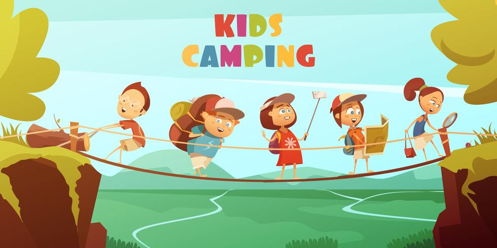 Fundo de acampamento de crianças vetor