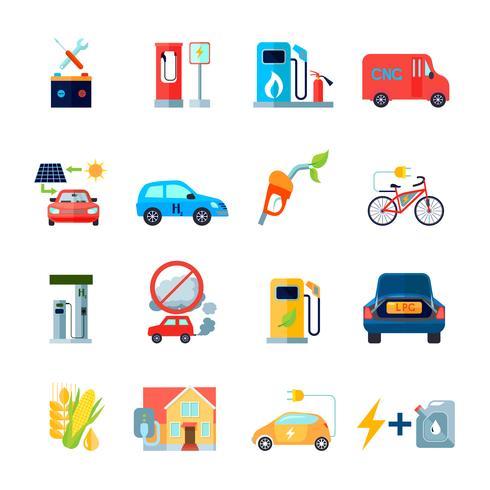 Conjunto de ícones de energia alternativa vetor