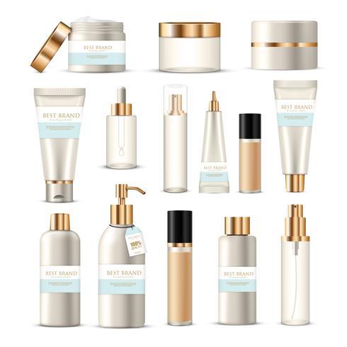 Conjunto de tubos de empacotamento cosmético vetor