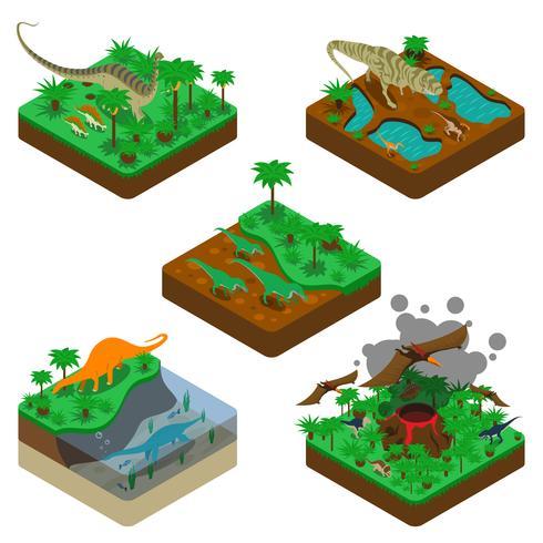 Composições isométricas de dinossauros vetor