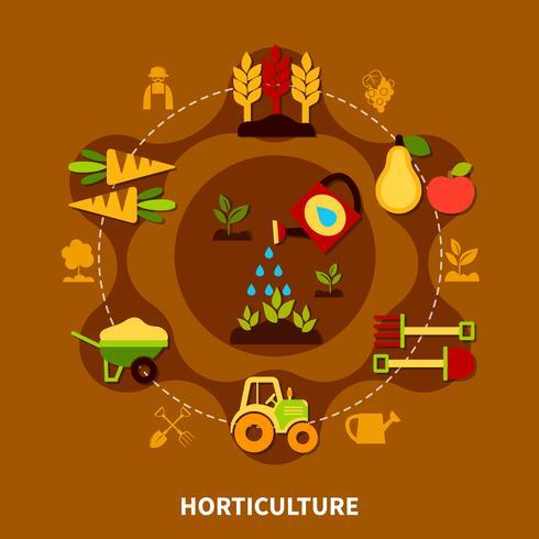 Composição de círculo de ícones de horticultura vetor