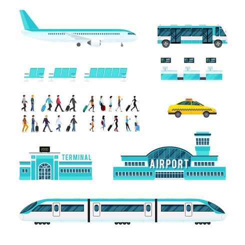 Transporte de pessoas e conjunto de ícones do Aeroporto vetor