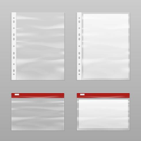 Papel completo e conjunto de ícones vazios de sacos de plástico vetor