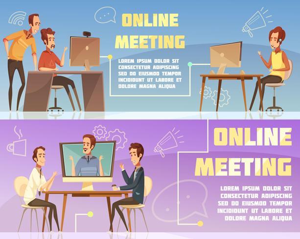 Conjunto de Banners de reunião on-line vetor
