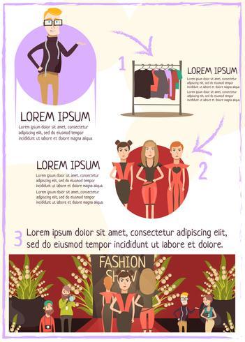 Infografia de revisão de evento de moda vetor