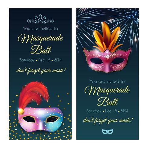 Banners de convite de baile de máscaras vetor