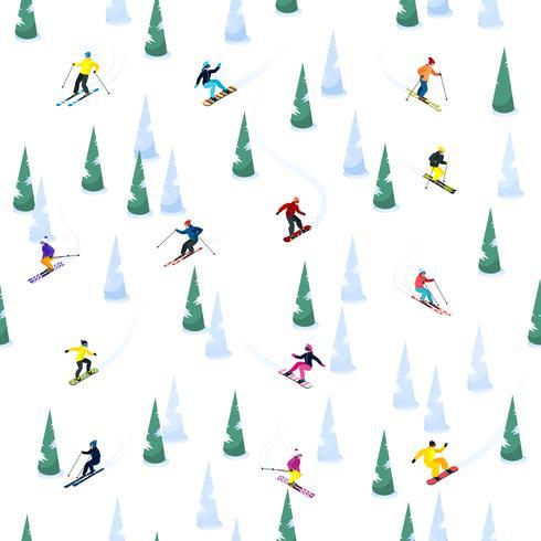 Padrão sem emenda de colina de esqui vetor